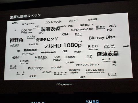 Pioneer KURO 技術スペックより感動スペック 写真クリックで拡大します